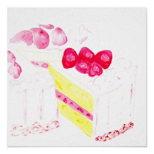 Birthday Cake Posters Art Prints : Watercolor Poster Print [strawberry birthday] cake Zazzle