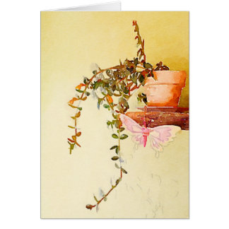 Watercolor Potted Plant and Butterfly Card