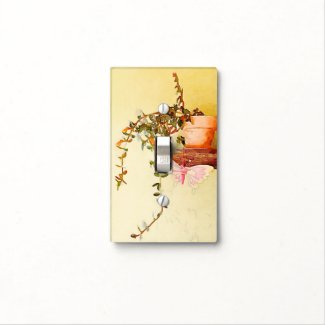 Watercolor Potted Plant and Butterfly Light Switch Cover