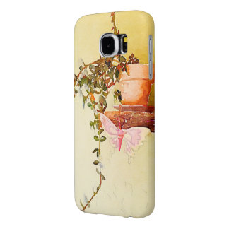Watercolor Potted Plant and Butterfly Samsung Galaxy S6 Case