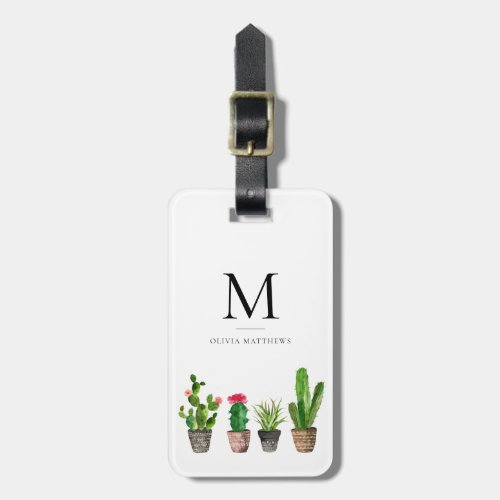 Watercolor Potted Succulents Monogram Luggage Tag