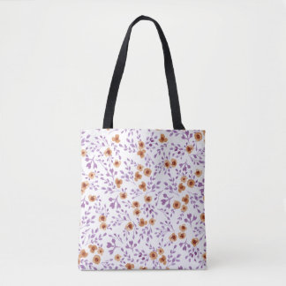 Watercolor Prairie Flowers Rustic - Purple Floral Tote Bag