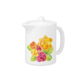 Watercolor Pretty Bright Florals (2) Teapot