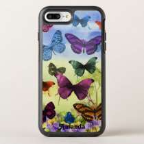 Watercolor Pretty Butterflies and Pansies OtterBox Symmetry iPhone 7 Plus Case