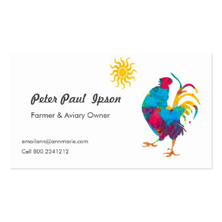 Watercolor Professional  colorful Rooster Birds Business Card