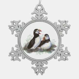 Watercolor Puffin Ocean Bird Family  Wildlife Snowflake Pewter Christmas Ornament