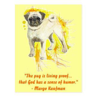 Watercolor Pug Art Postcard