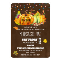 Watercolor Pumpkin and Seasonal Fall leaves Invitation