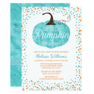 Watercolor Pumpkin Arrived Fall Boy Baby Shower Card