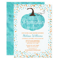 Watercolor Pumpkin Arrived Fall Boy Baby Shower Invitation