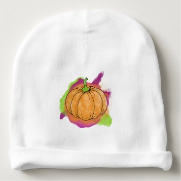 Halloween Themed Watercolor Pumpkin Baby Beanie