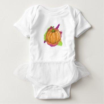 Halloween Themed Watercolor Pumpkin Baby Bodysuit