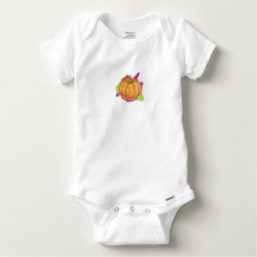 Halloween Themed Watercolor Pumpkin Baby Onesie