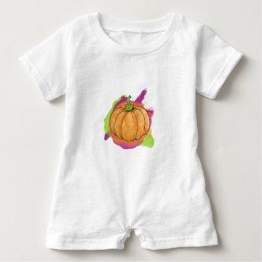 Halloween Themed Watercolor Pumpkin Baby Romper