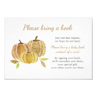 Watercolor Pumpkin Baby Shower Bring a Book Card