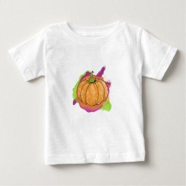 Halloween Themed Watercolor Pumpkin Baby T-Shirt