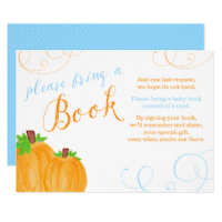Watercolor Pumpkin Boy Baby Shower Bring a Book Invitation