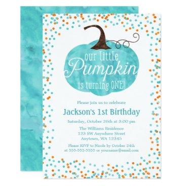 Halloween Themed Watercolor Pumpkin Confetti Boy First Birthday Card