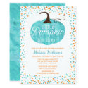 Watercolor Pumpkin Confetti Fall Boy Baby Shower Invitation