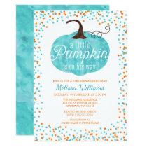 Watercolor Pumpkin Confetti Fall Boy Baby Shower Invitation