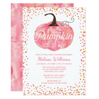 Watercolor Pumpkin Confetti Fall Girl Baby Shower Card