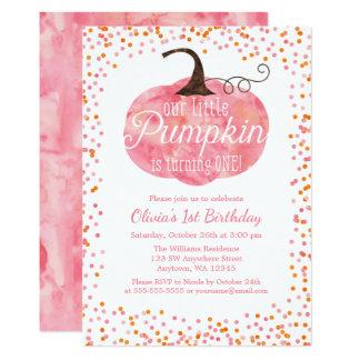 Watercolor Pumpkin Confetti Girl First Birthday Card