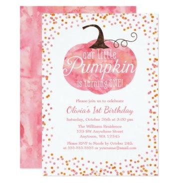 Halloween Themed Watercolor Pumpkin Confetti Girl First Birthday Card
