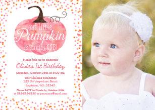 Girl 1st birthday invitations zazzle watercolor pumpkin confetti girl first birthday invitation stopboris Gallery