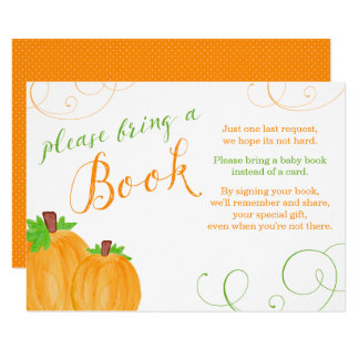 Watercolor Pumpkin Fall Baby Shower Bring a Book Card