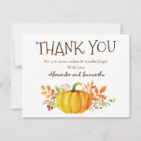 Watercolor Pumpkin Fall Thank You Card
