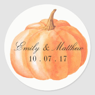 Watercolor Pumpkin Fall Wedding Label Stickers