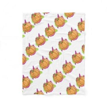 Halloween Themed Watercolor Pumpkin Fleece Blanket