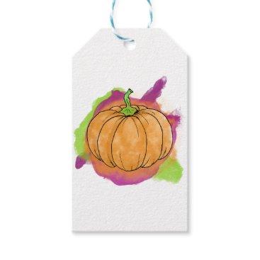 Halloween Themed Watercolor Pumpkin Gift Tags