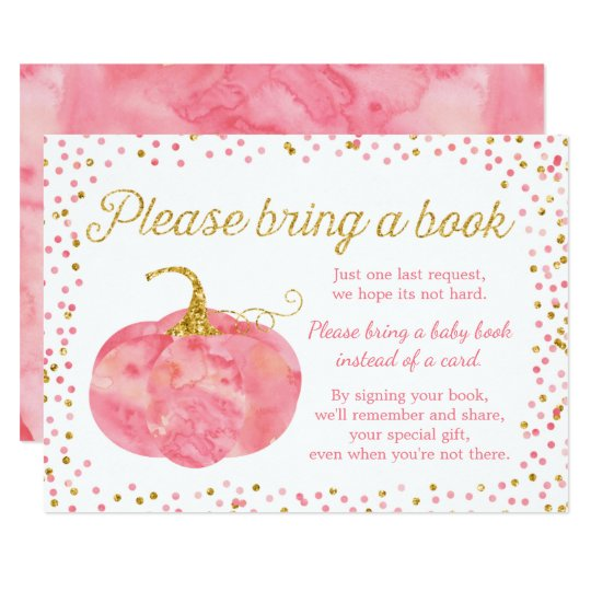 Watercolor Pumpkin Girl Baby Shower Bring A Book Card
