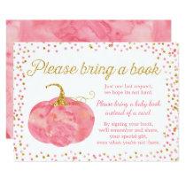 Watercolor Pumpkin Girl Baby Shower Bring a Book Invitation