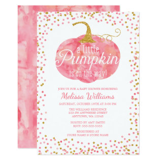 Watercolor Pumpkin Glitter Fall Girl Baby Shower Card at Zazzle