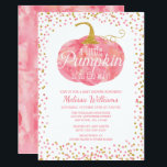 "Watercolor Pumpkin Glitter Fall Girl Baby Shower Invitation<br><div class=""desc"">Chic little pumpkin themed baby shower invitations for baby girl. Chic pink watercolor pumpkin and faux gold glitter border. Designs are flat printed illustrations/graphics - NOT ACTUAL GOLD GLITTER.</div>"
