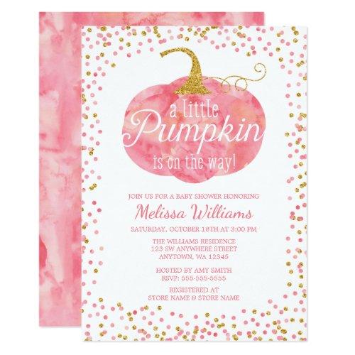 Watercolor Pumpkin Glitter Fall Girl Baby Shower Invitation