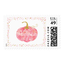 Watercolor Pumpkin Glitter Fall Girl Baby Shower Postage