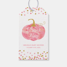 Watercolor Pumpkin Glitter Fall Thank You Favor Gift Tags