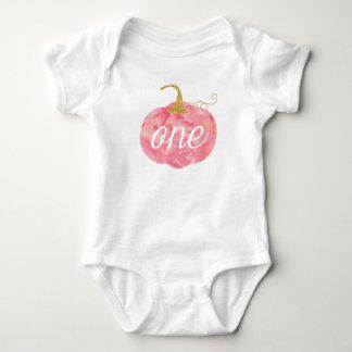 Watercolor Pumpkin Glitter Girl 1st Birthday Baby Bodysuit