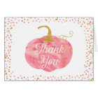 Watercolor Pumpkin Glitter Thank You Card