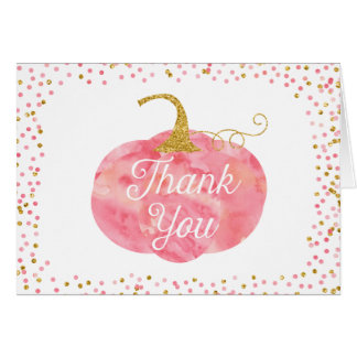 Watercolor Pumpkin Glitter Thank You Card