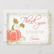 Watercolor Pumpkin Gold Glitter Fall Thank You