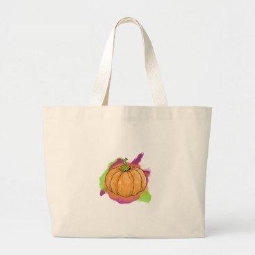 Halloween Themed Watercolor Pumpkin Large Tote Bag