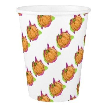 Halloween Themed Watercolor Pumpkin Paper Cup