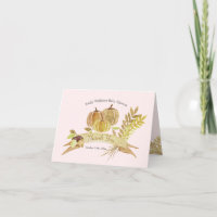Watercolor Pumpkin Pink Thank You Card