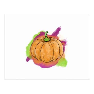 Halloween Themed Watercolor Pumpkin Postcard