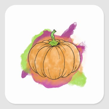 Halloween Themed Watercolor Pumpkin Square Sticker
