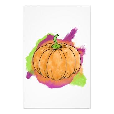 Halloween Themed Watercolor Pumpkin Stationery